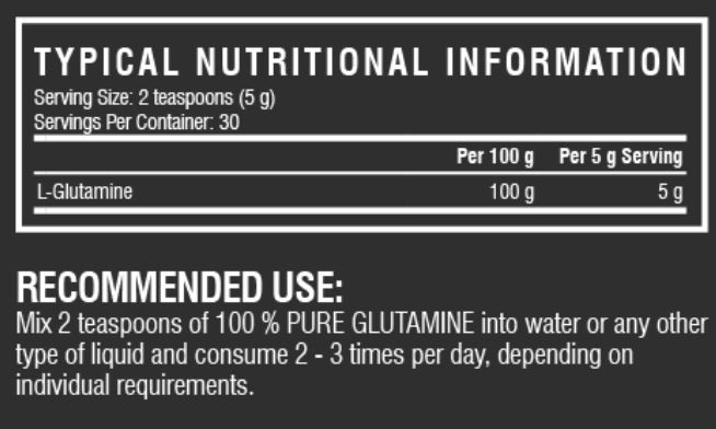 Glutamine Combo Nutritional Info