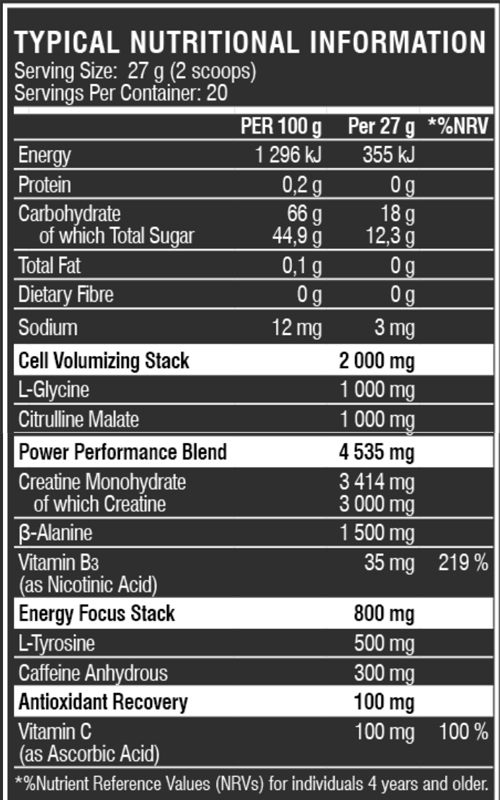 Psycho Max Nutritional Info